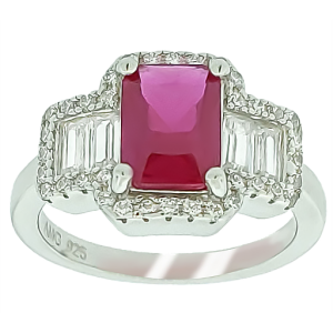 Micro Pave 925 Sterling Silver Ladies Ring Rhodium Plating with Red Ruby and White Cubic Zirconia