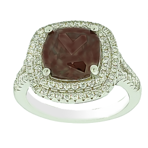 Micro Pave 925 Sterling Silver Ladies Ring Rhodium Plating with Brown Stone and White Cubic Zirconia