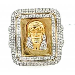 Micro Pave 925 Sterling Silver Men's Ring 14K Yellow Gold Plating with Cubic Zirconia