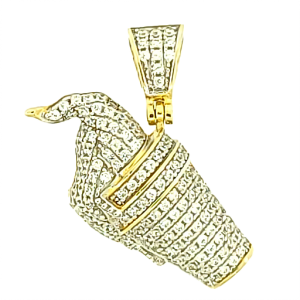 Ice Cream Micro Pave Cubic Zirconia Silver Pendant with 14k Gold Plating