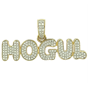 Hogul Micro Pave Cubic Zirconia Silver Pendant with 14k Gold Plating