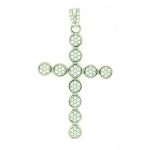 Micro Pave 925 Sterling Silver Men's Cross Pendant Rhodium Plating with Cubic Zirconia- 20611