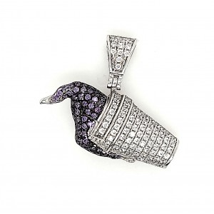 Multi Color Ice Cream Micro Pave Cubic Zirconia Silver Pendant with Rhodium Plating