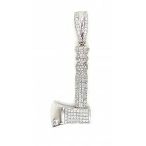 AXE Micro Pave Cubic Zirconia Silver Pendant With Rhodium Plating