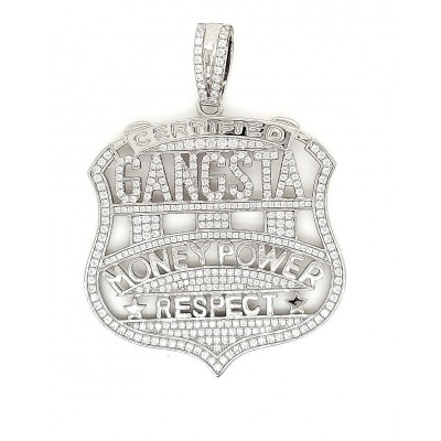 Gangsta Micro Pave Cubic Zirconia Silver Pendant with Rhodium Plating