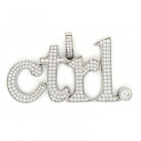 Ctrl Micro Pave Cubic Zirconia Silver Pendant with Rhodium Plating