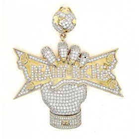 Ctrl Micro Pave Cubic Zirconia Silver Pendant with 14k Gold Plating