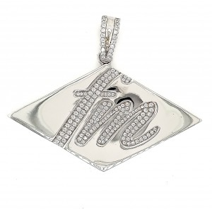 FM Micro Pave Cubic Zirconia Silver Pendant with Rhodium Plating