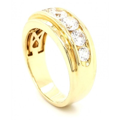 Micro Pave 925 Sterling Silver Men's Band 14K Yellow Gold Plating Round Stone with Cubic Zirconia