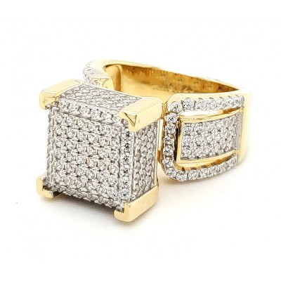 Micro Pave 925 Sterling Silver Bridal Ring 14K Yellow Gold Plating with Cubic Zirconia