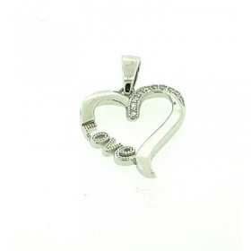 Collerz Only micro pave cubic zirconia silver pendant with rhodium plating