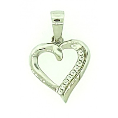 Heart Ladies Pendant Micro Pave 925 Sterling Silver Rhodium Plating with Cubic Zirconia