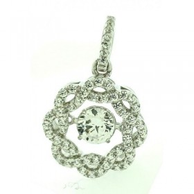 Betton Livin Pendant Micro Pave 925 Sterling Silver 14K Rose Gold Plating with Cubic Zirconia