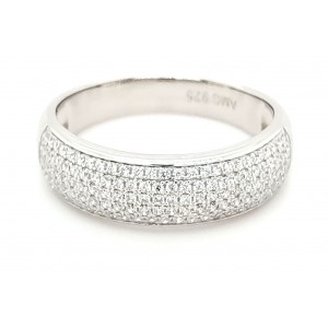 4 Row Micro Pave Cubic Zirconia Silver Ring with Rhodium Plating