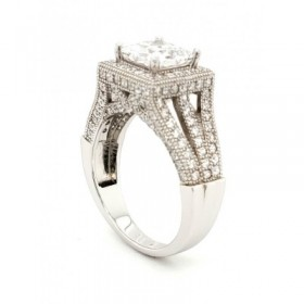 Multi Row Micro Pave  Cubic Zirconia Silver Ring with Rhodium Plating