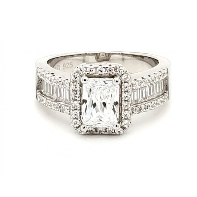 Micro Pave 925 Sterling Silver Bridal Ring Rhodium Plating with Cubic Zirconia