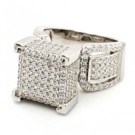 2 Row Micro Pave Cubic Zirconia Silver Ring with 14k Rose Gold Plating