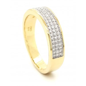 3 Row Micro Pave Cubic Zirconia Silver Ring with 14k Gold Plating