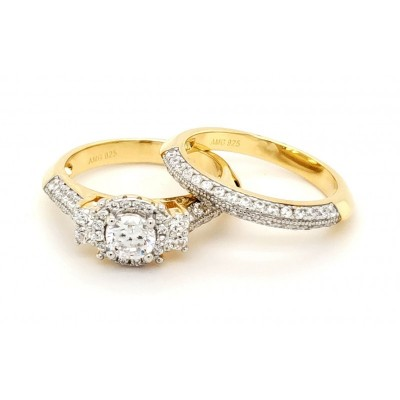 Micro Pave Sterling Silver Bridal Set 14k Gold Plating Ring with Cubic Zirconia