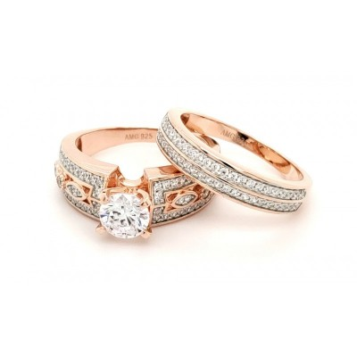 Micro Pave 925 Sterling Silver Bridal Set 14k Rose Gold Plating Ring with Cubic Zirconia