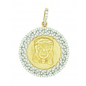 Micro Pave Cubic Zirconia 925-Silver Men's Pendant with 14K Gold Plating