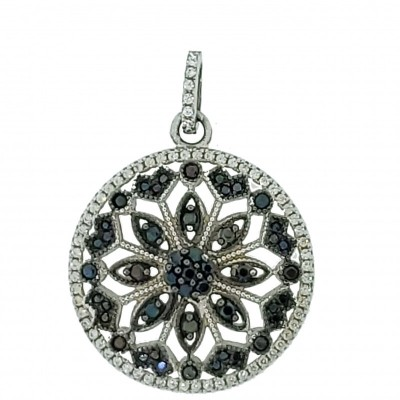 Micro Pave 925 Sterling Silver Pendant Rhodium Plating with Black and White Cubic Zirconia
