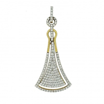 Micro Pave 925 Sterling Silver Pendant 14K Yellow Gold Plating with Cubic Zirconia