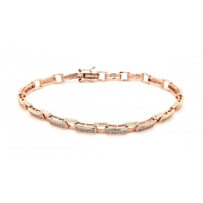 Micro Pave 925 Sterling Silver Bracelet 14K Rose Gold Plating with Cubic Zirconia