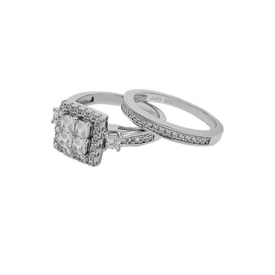 Micro Pave 925 Sterling Silver Bridal Set Rhodium Plating with Cubic Zirconia
