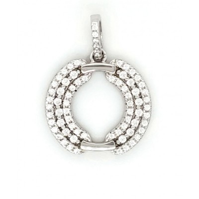 HEART LOVE LADIES PENDANT MICRO PAVE 925 STERLING SILVER RHODIUM PLATING WITH CUBIC ZIRCONIA