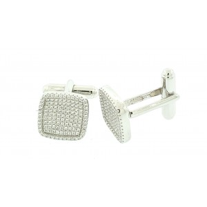 Micro Pave 925 Sterling Silver Men's Cuff Links Rhodium Plating with Cubic Zirconia
