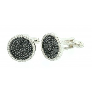 Micro Pave 925 Sterling Silver Men's Cuff Links Rhodium Plating with Black and White Cubic Zirconia