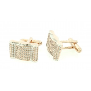 Micro Pave 925 Sterling Silver Men's Cuff Links 14k Rose Gold Plating with Cubic Zirconia