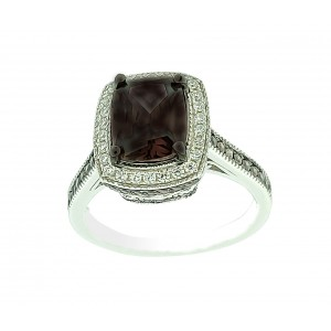 Micro Pave 925 Sterling Silver Ladies Ring Rhodium Plating with Chocolate Brown and White Cubic Zirconia