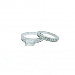 Micro Pave 925 Sterling Silver Bridal Set Rhodium Plating Ring with Cubic Zirconia