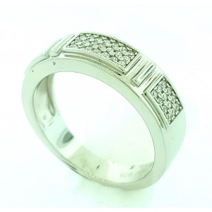 3 Row Micro Pave  Cubic Zirconia Silver Ring with Rhodium Plating